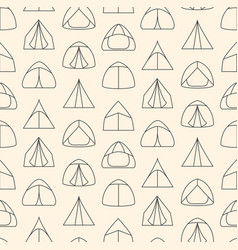 seamless pattern made of line art touristic tents vector image