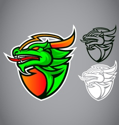 shield green dragon emblem logo vector image vector image