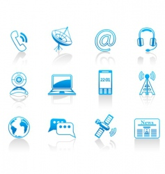 communication blue icon set vector image