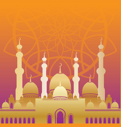 golden mosque in flat style on colorful background vector image