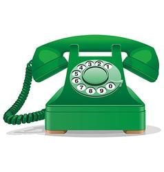 Green retro telephone vector image