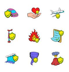misadventure icons set cartoon style vector image vector image