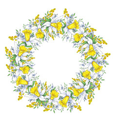 spring bright wreath with daffodils and forget-me vector image