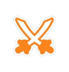 sticker Bright crossed swords on a white vector image