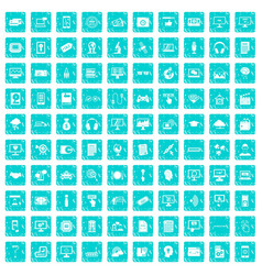 100 website icons set grunge blue vector image