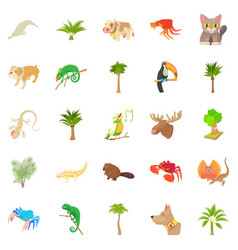 animal life icons set cartoon style vector image