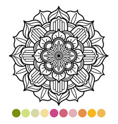 Antistress mandala coloring page with colors vector