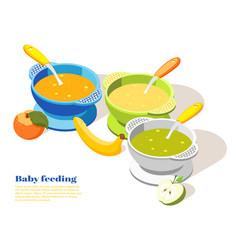Bafeeding isometric background vector