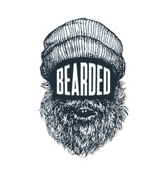 Bearded - hipster quote and face look vector