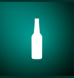 beer bottle icon isolated on green background vector image