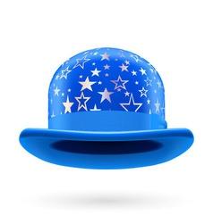 Blue starred bowler hat vector