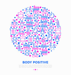 body positive concept in circle with thin line vector image