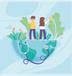 boy and girl with watering can pouring water on vector image