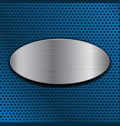 Brushed metal oval plate on blue perforated vector