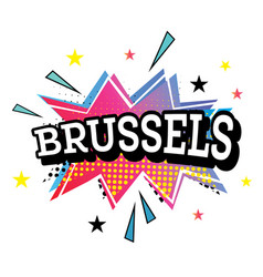 Brussels comic text in pop art style vector