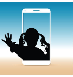 child silhouette sweet on cellphone vector image