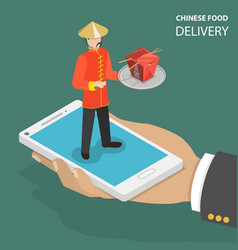 Chinese food online order flat isometric low poly vector