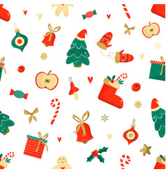 christmas seamless pattern with funny elements vector image