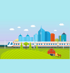city surroundings landscape fields and farms vector image