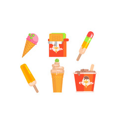 collection different types ice cream tasty vector image
