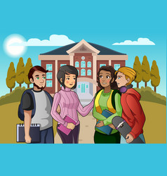 College students talking on campus vector