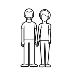 couple of young people man and woman hold hands on vector image