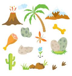 Dinosaur footprint volcano palm tree stones vector