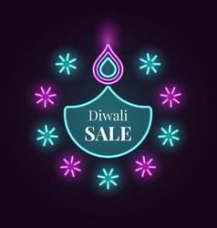 diwali diya sale banner in bright neon style vector image