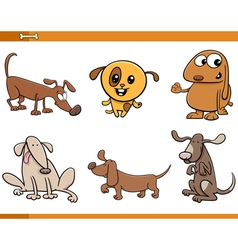 Dog animal characters set vector