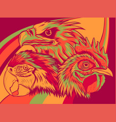 eagle with parrot and rooster design vector image