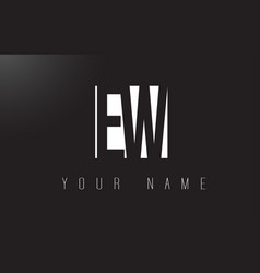 Ew letter logo with black and white negative vector
