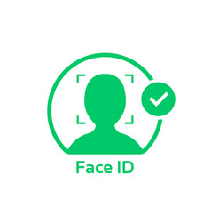 face id approved green logo vector image