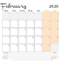 February 2020 monthly calendar planner printable vector