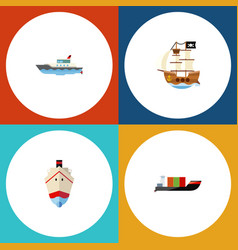 flat icon ship set of vessel sailboat tanker and vector image