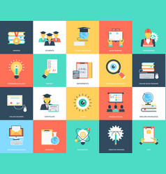 flat icons set of education vector image