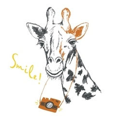 Fun sketch of a giraffe photographer vector