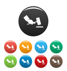 gavel in hand icons set color vector image