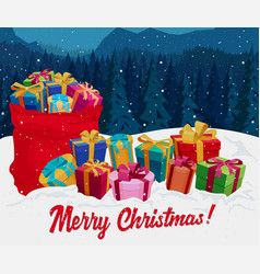 Gift boxes on the snow christmas greeting card vector