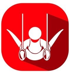 Gymnastics with ring icon on red background vector