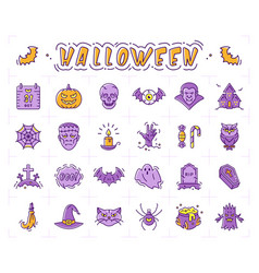 halloween icon set pumpkin vampire witch bat vector image