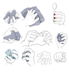 Hand action holding paper vector