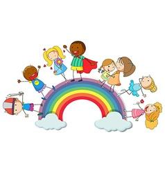 Happy children standin on rainbow vector image
