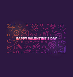 happy valentines day colored outline banner vector image
