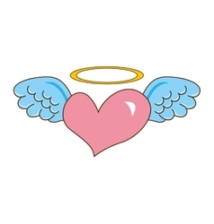 heart with wings cute icon vector image