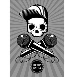 hip-hop battle music poster with skull and vector image
