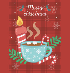 hot chocolate cup marshmallow candle merry vector image