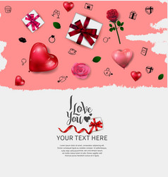 I love you design with love element pink brush vector