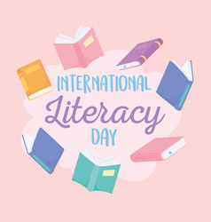 international literacy day many books education vector image