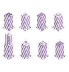 isometric building set isolated on white vector image