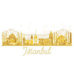 Istanbul city skyline golden silhouette vector